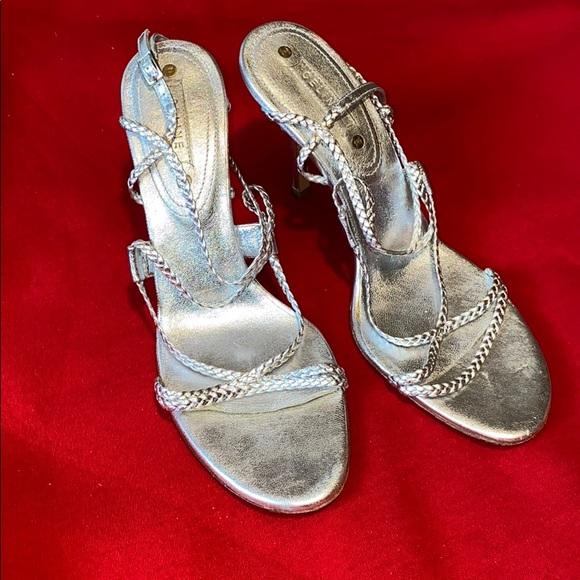 Céline Metallic Silver Braided CrissCross Sandals